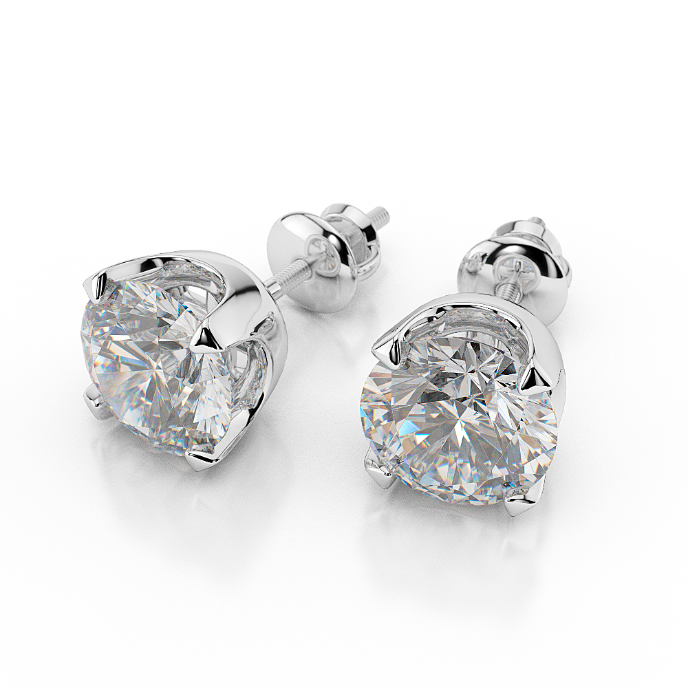 earrings white gold solitaire igi diamond round carat certified l stud