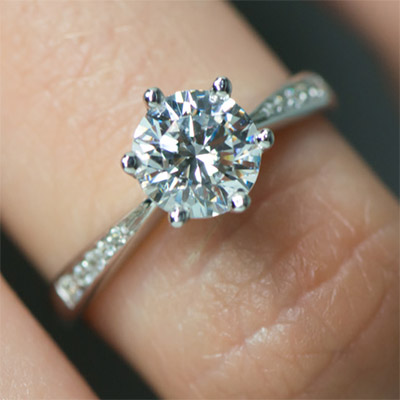 diamond ring carat with simple pave brilliant round engagement pin solitaire band
