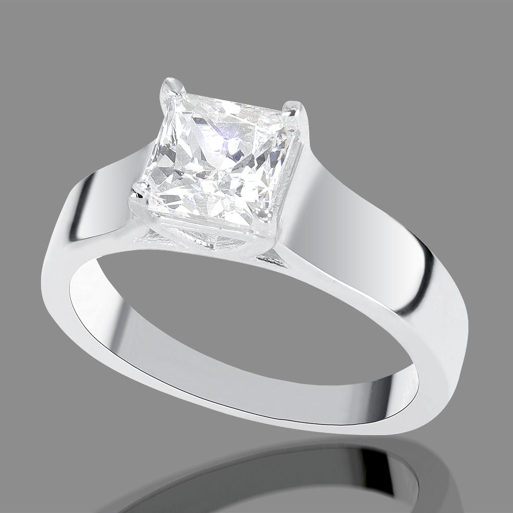 1 Carat E F SI1 Diamond Engagement Ring Princess Cut 18K White Gold Enhanced