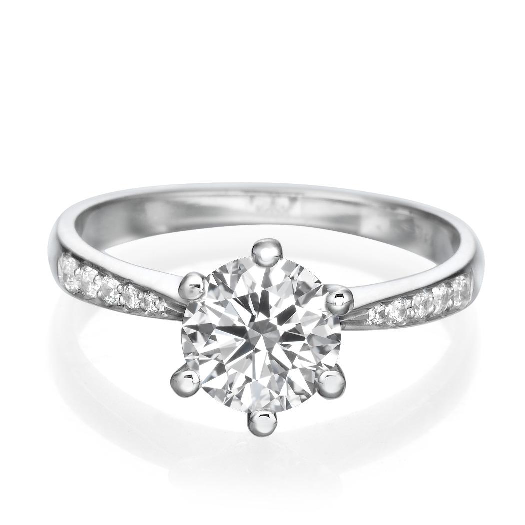 d vvs1 engagement ring 2 carat round cut 14k white gold. Black Bedroom Furniture Sets. Home Design Ideas