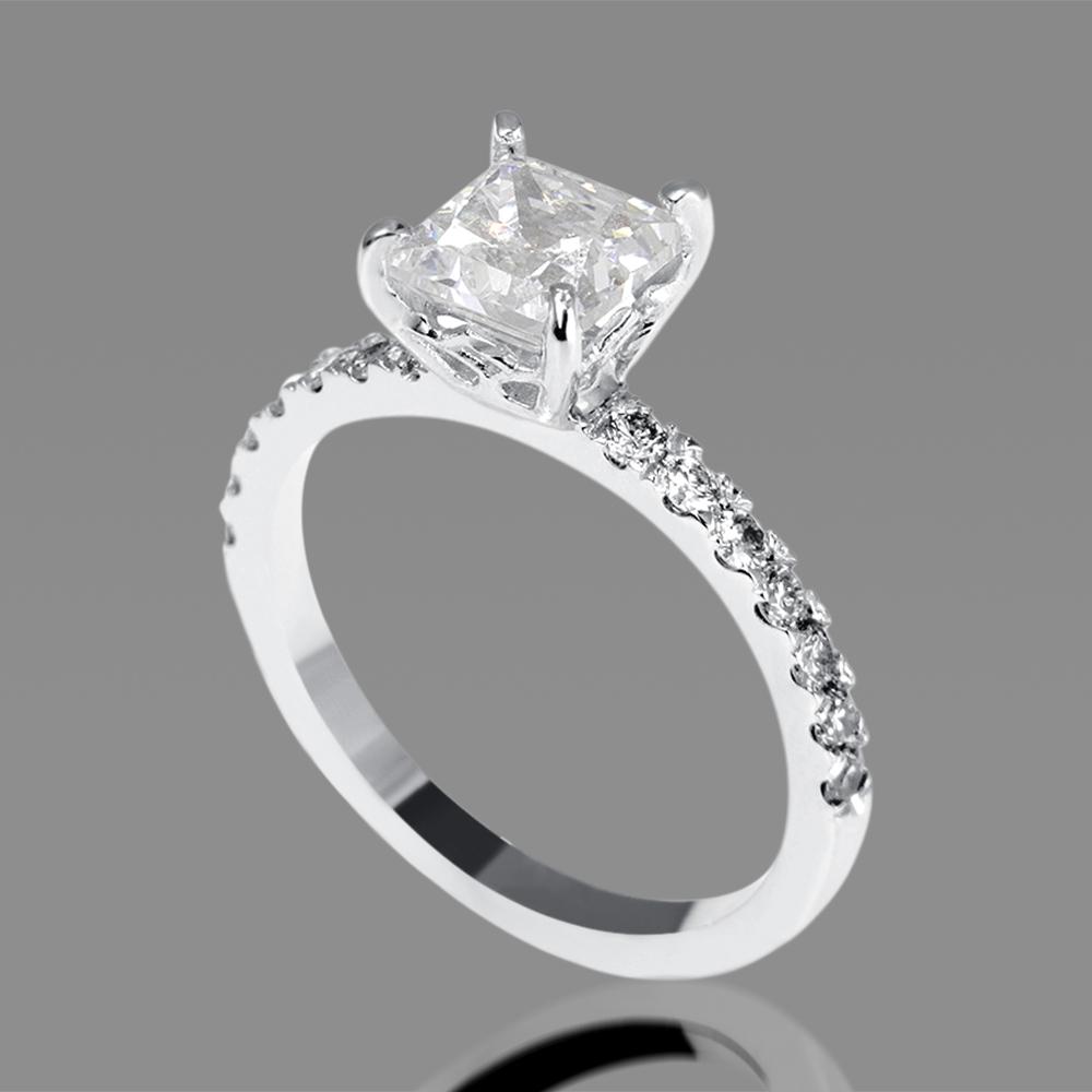 1 Carat D VS2 Enhanced Diamond Engagement Ring Princess ...