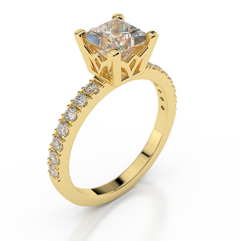 2 Carat Princess Cut Diamond Engagement Ring D VS1 14K Yellow Gold