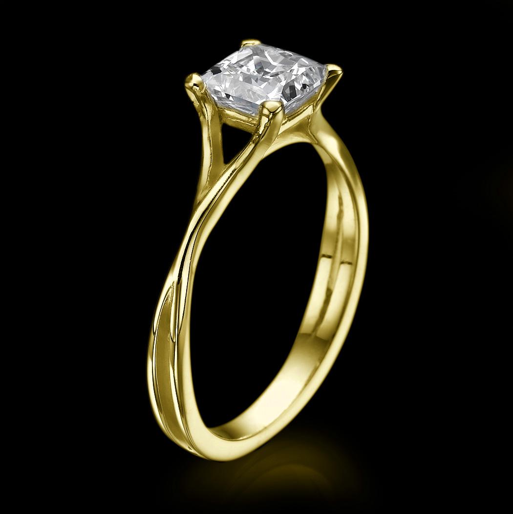 2 00 CT Real Princess Cut Diamond Engagement Ring 14K White Gold Enhanced D SI1