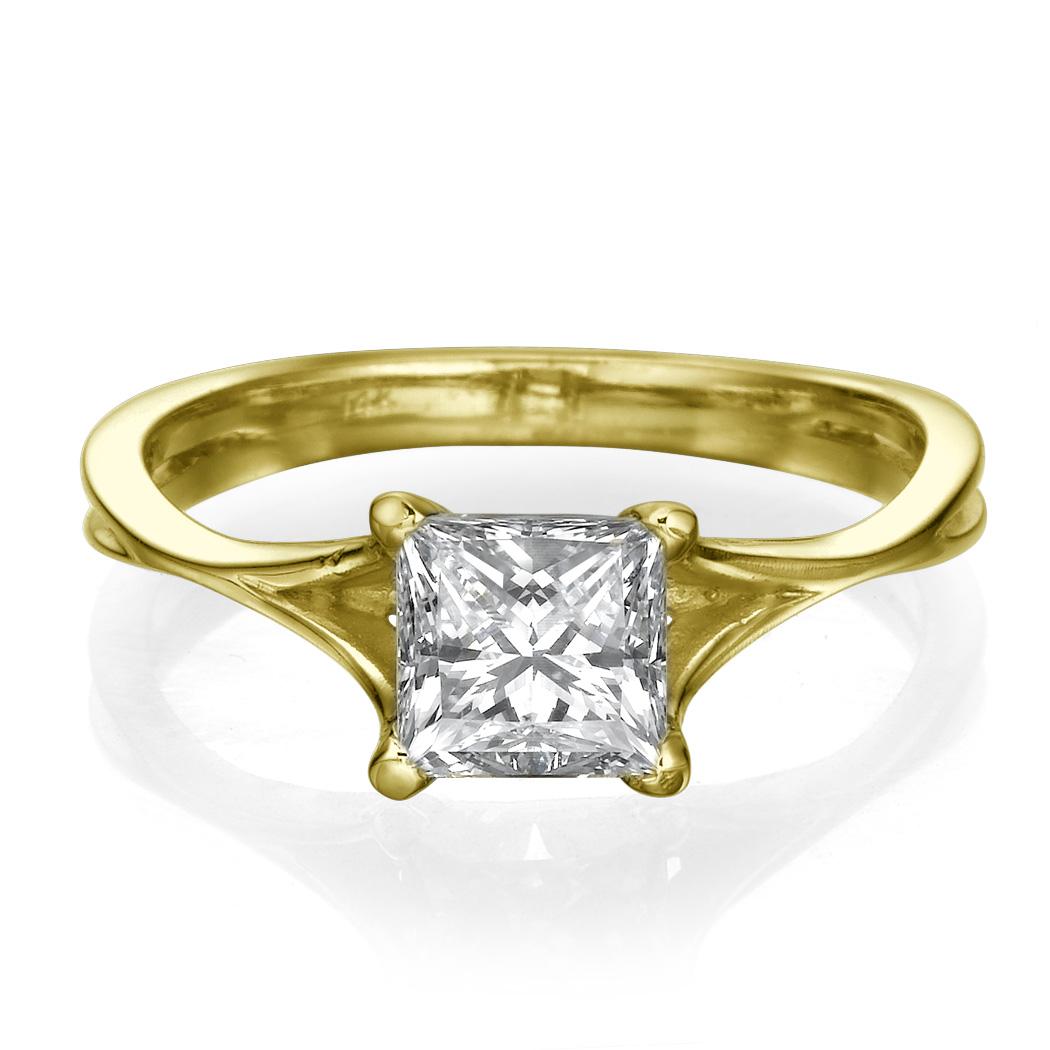 1 1 2 Carat D VS1 Real Diamond Engagement Ring Princess Cut 14K Yellow Gold