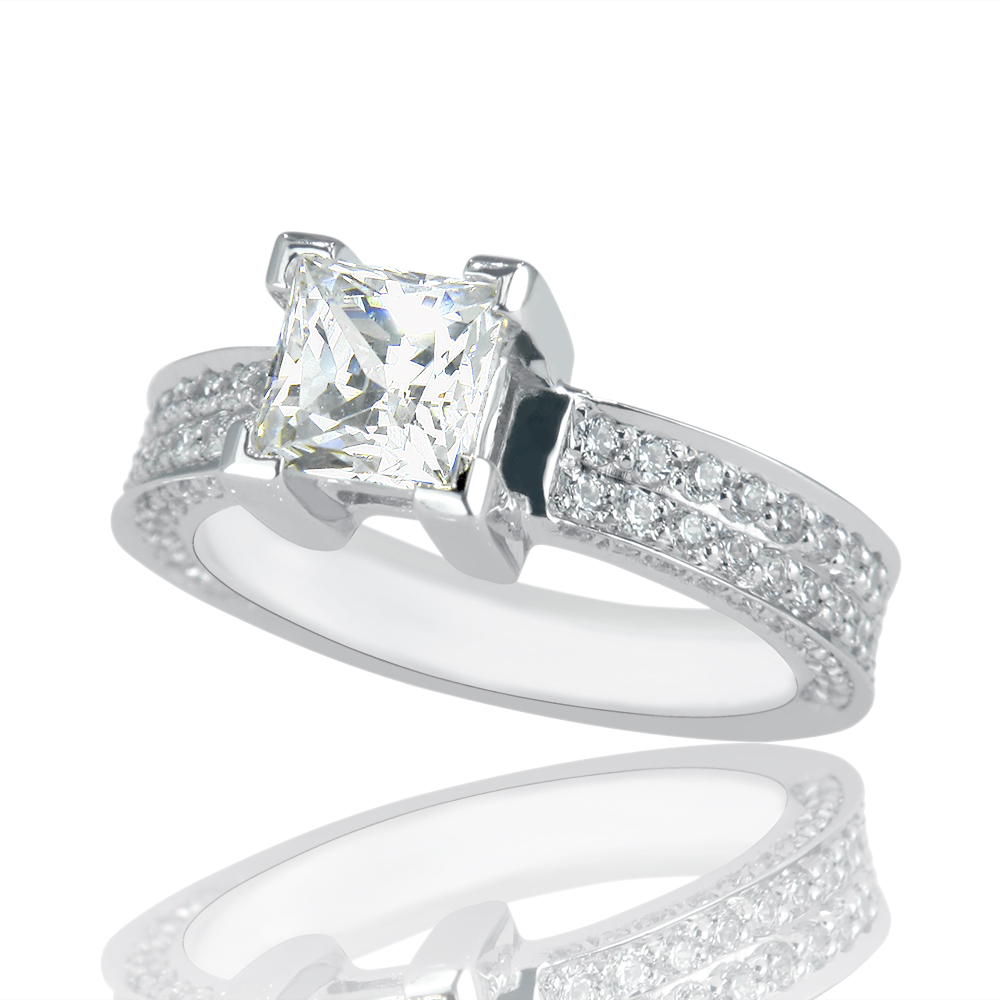 1 3 4 Carat D VS2 New Diamond Engagement Ring Princess Cut 14k White Gold