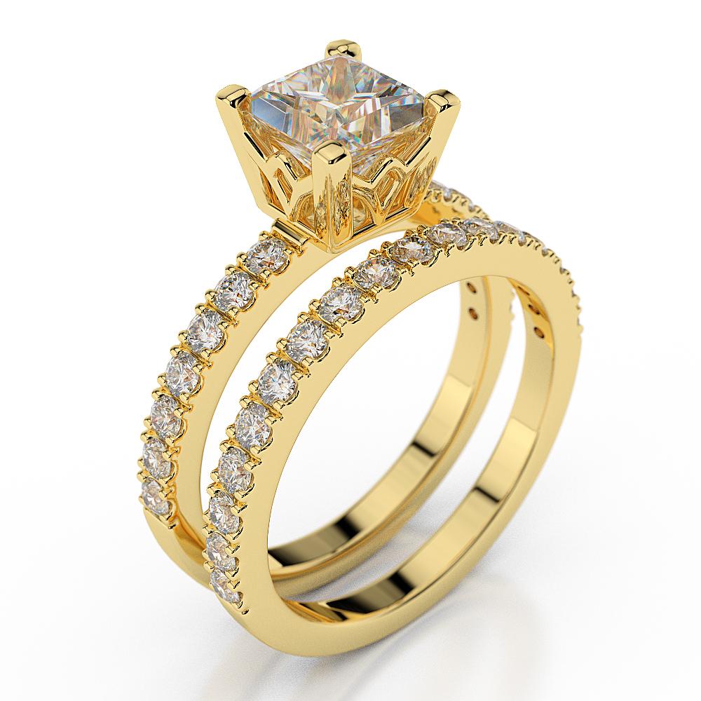 Princess Cut Diamond Engagement Ring Set 14k Yellow Gold Certified 1 85 Ct D