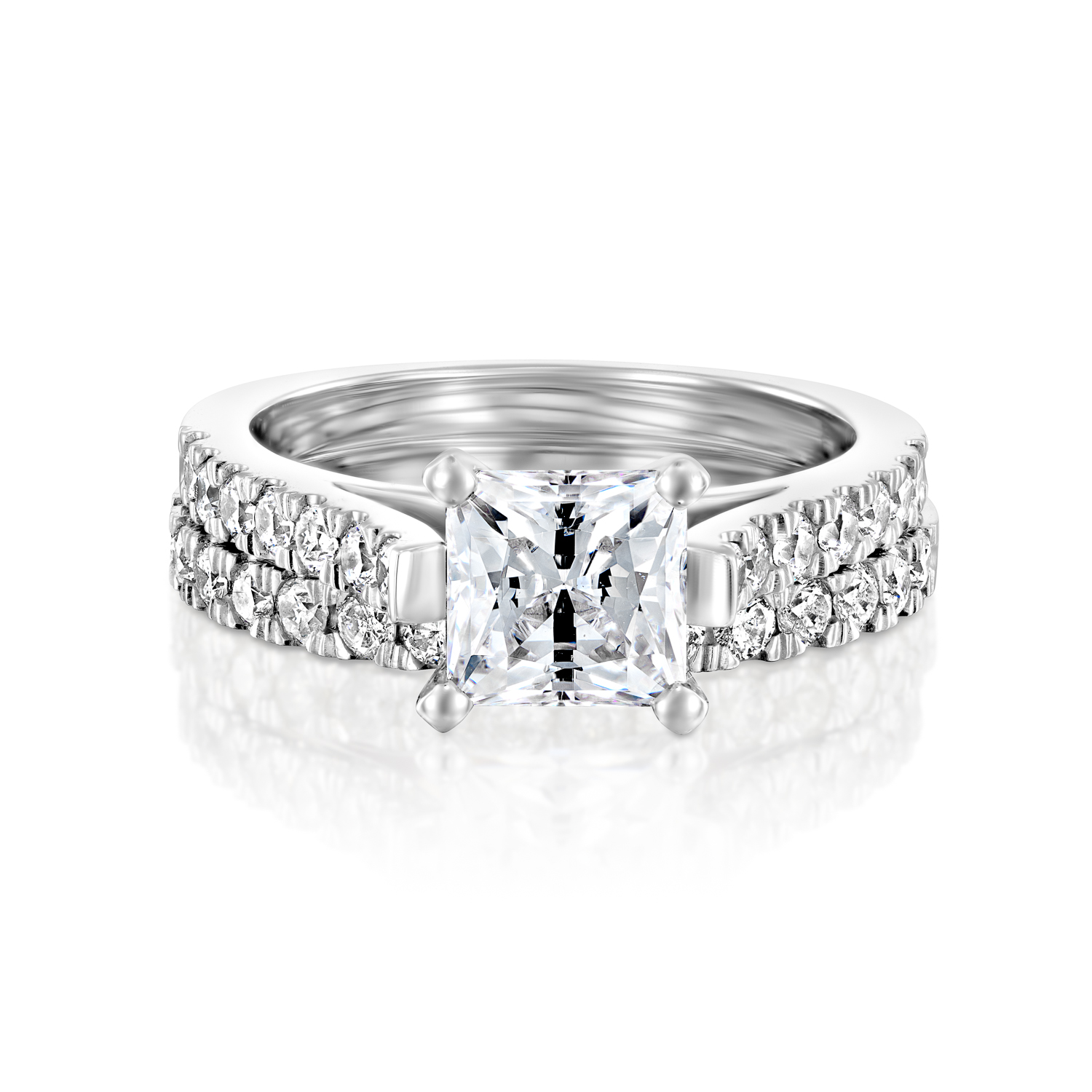 1.25 CT D/VS ENHANCED PRINCESS DIAMOND ENGAGEMENT RING SET ...