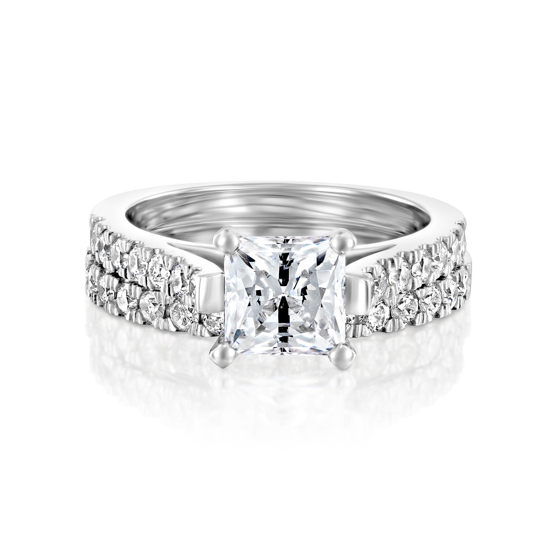 ... Ct Princess Man Made Diamond Engagement Ring Set 14k White Gold D/VVS1