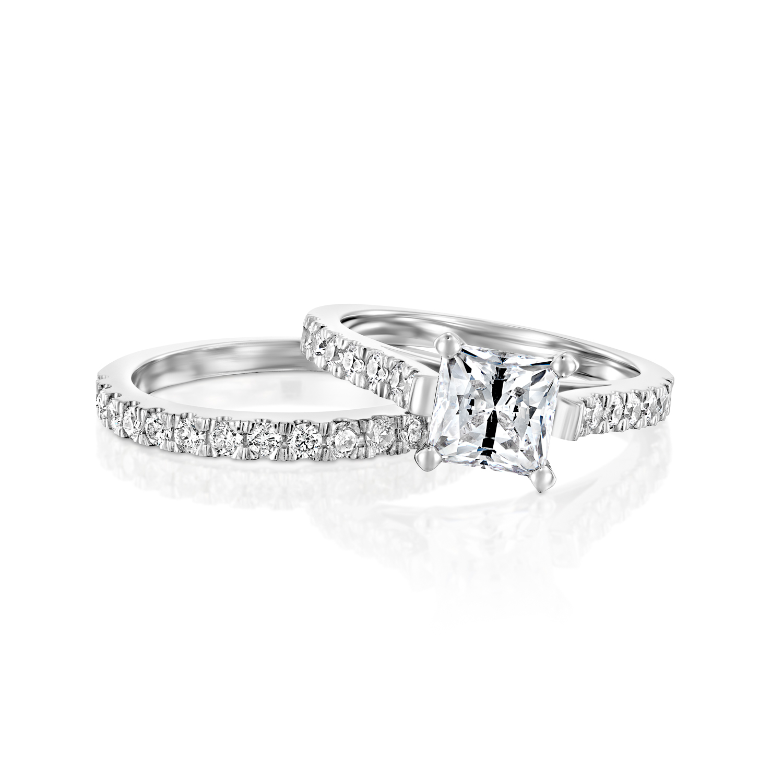 213 ct princess man made diamond engagement ring set 14k With man made diamond wedding ring sets