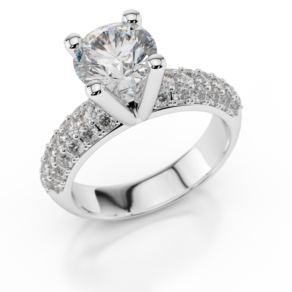 H SI Elegant Diamond Engagement Ring 1 2 3 Carat Round Cut 18k White Gold