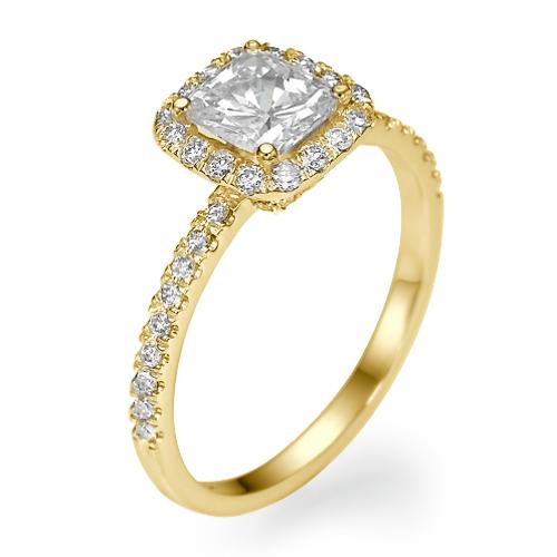 1 65 Ct La s Halo Cushion Cut Diamond Engagement Ring 14k Yellow Gold F SI2