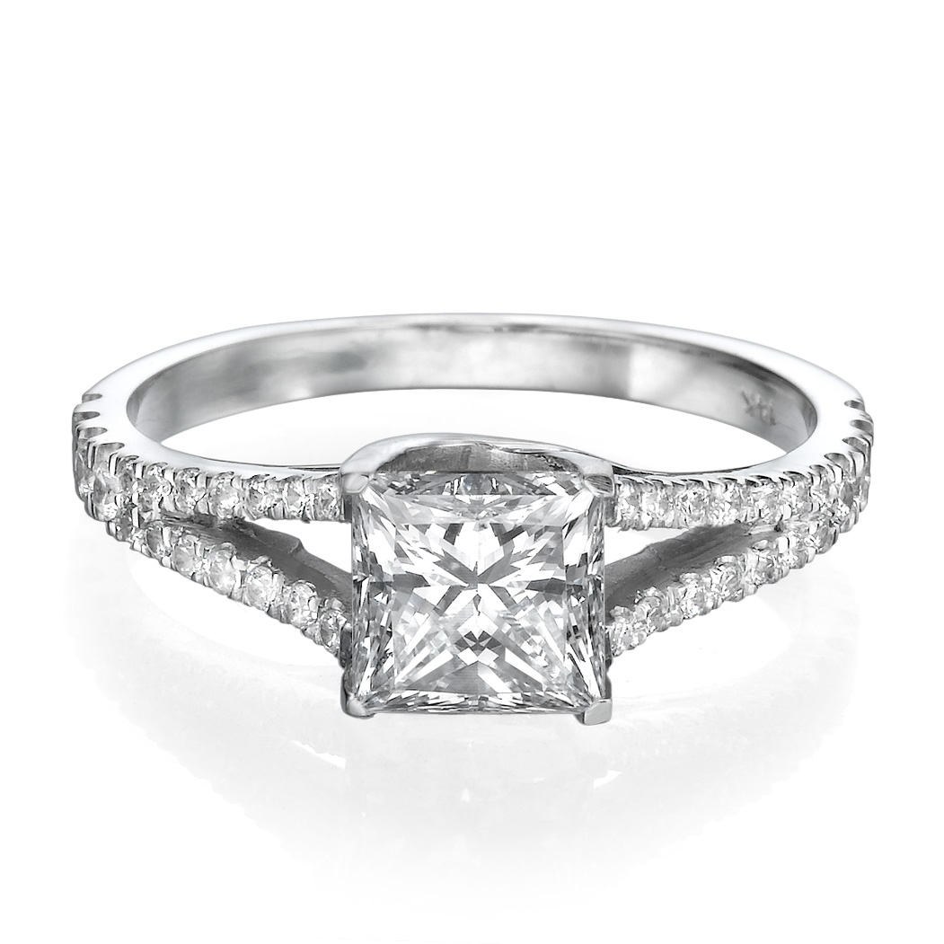 1 CT PRINCESS DIAMOND ENGAGEMENT RING D/SI1 18K WHITE GOLD