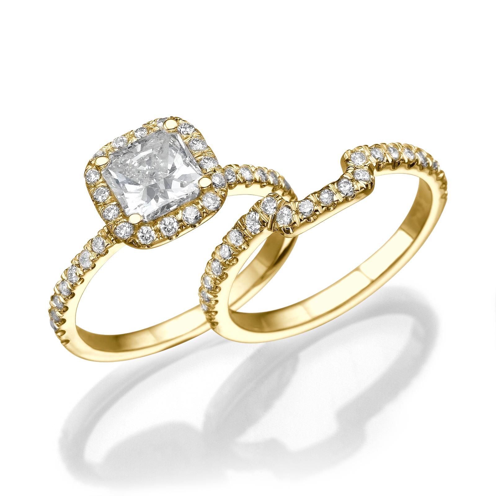 cushion cut engagement ring set 14kt white gold