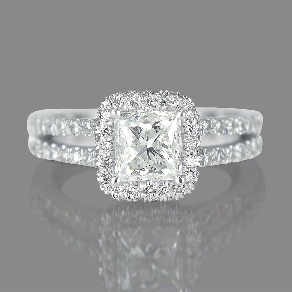 1 ct halo diamond engagement ring princess cut h vs 14k. Black Bedroom Furniture Sets. Home Design Ideas