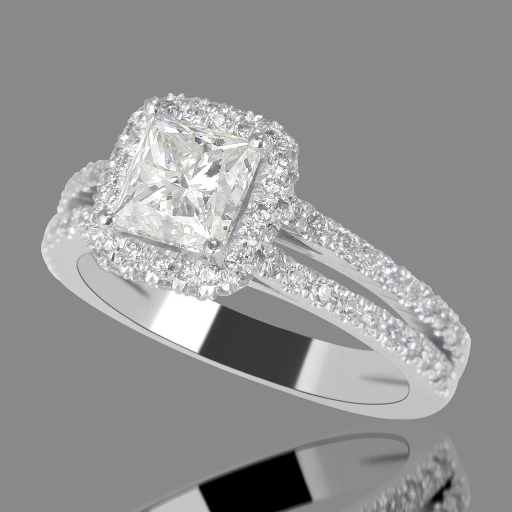 3 Carat Princess Cut Diamond Engagement Ring F/SI1 18K ...