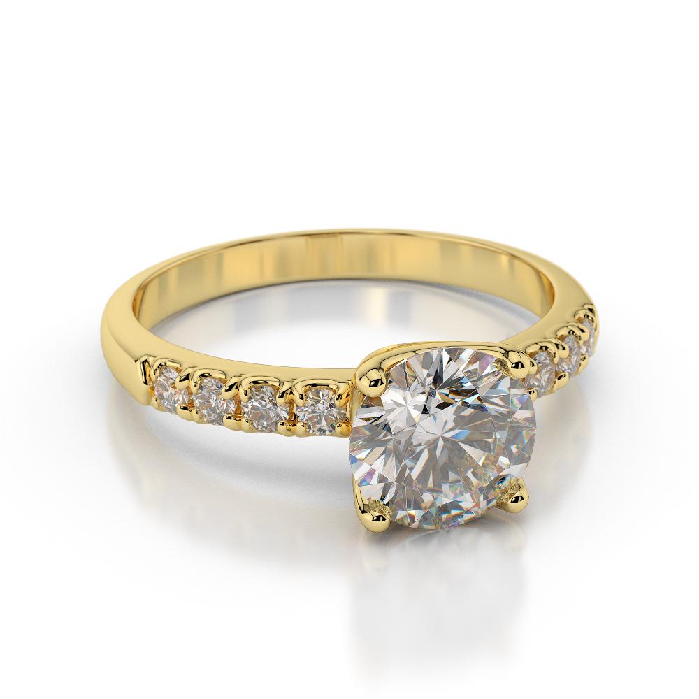 1 Carat H SI1 Elegant Diamond Engagement Ring Round CUT 14K Yellow Gold