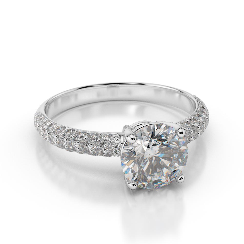 3 1 4 Carat D SI1 Diamond Engagement Ring Enhanced Round Cut 18K White Gold