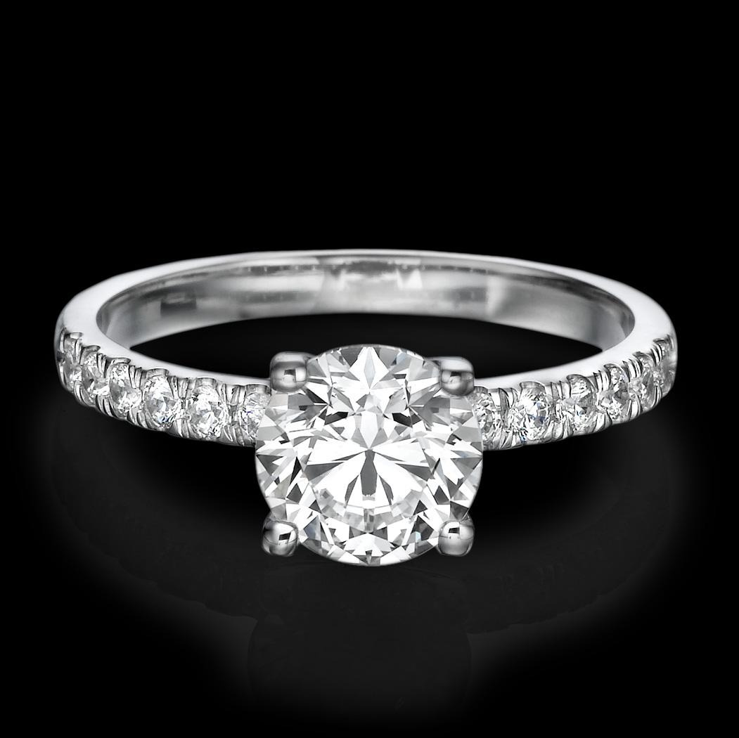 1 CARAT D SI1 ENHANCED DIAMOND ENGAGEMENT RING ROUND CUT