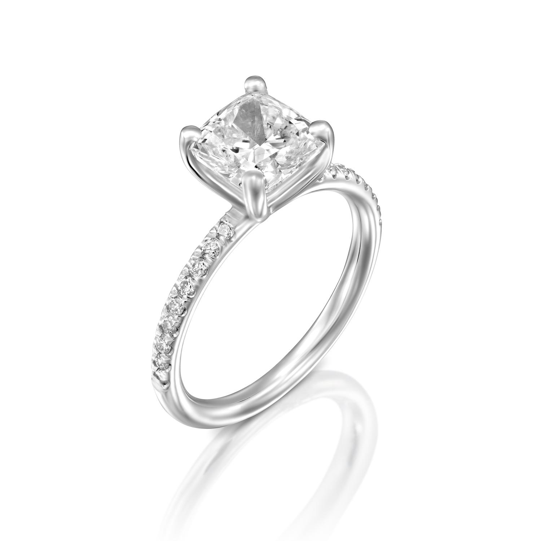 f vs2 cushion cut enhanced diamond engagement ring ct. Black Bedroom Furniture Sets. Home Design Ideas