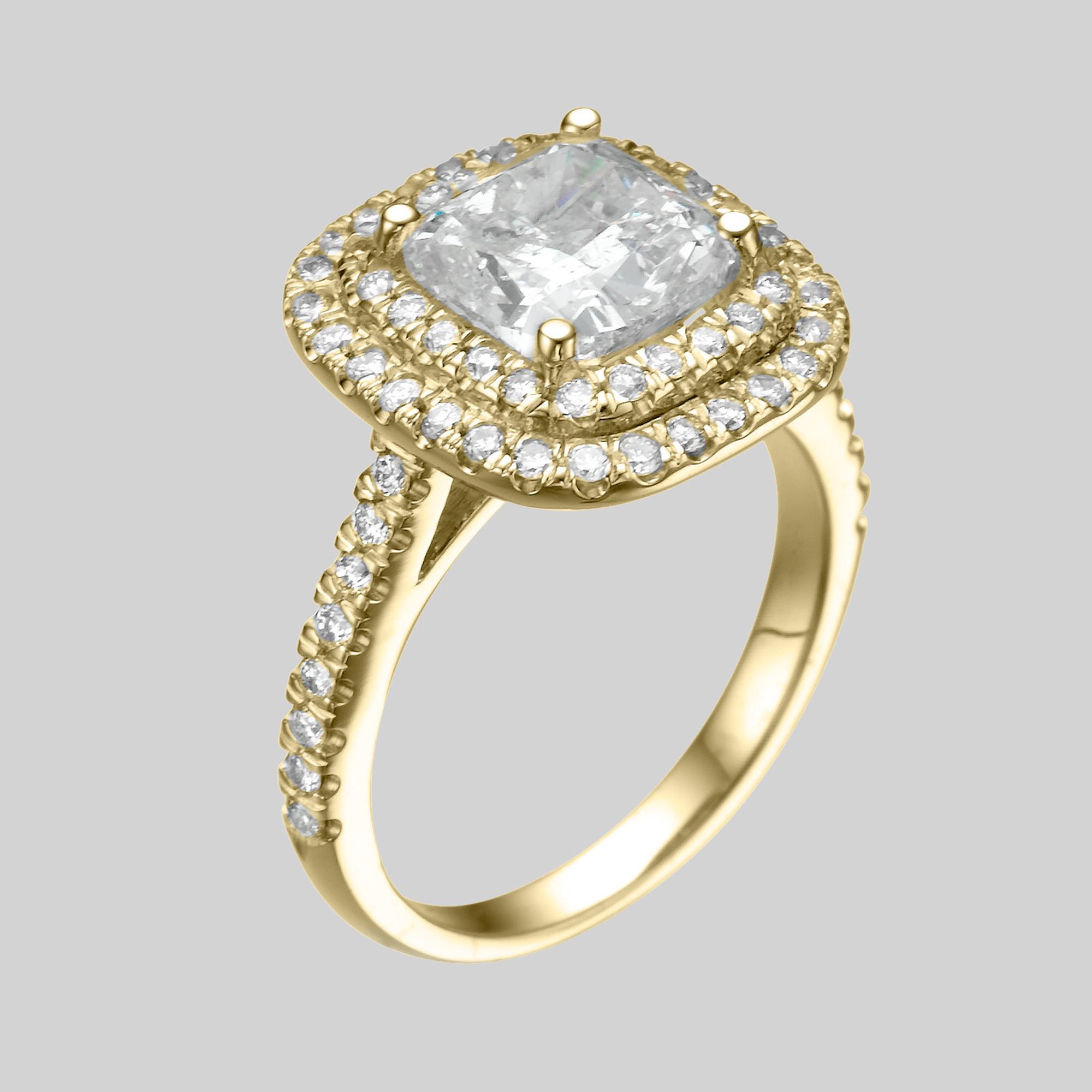 2 2 3 Carat D SI1 Bridal Diamond Engagement Ring Enhanced Cushion 14K White G