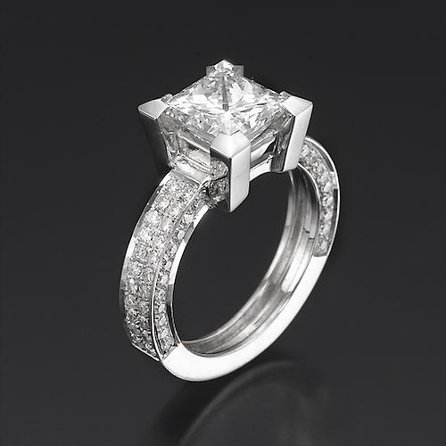 D VVS1 MAN MADE DIAMOND ENGAGEMENT RING 2 CARAT PRINCESS CUT 18K WHITE GOLD
